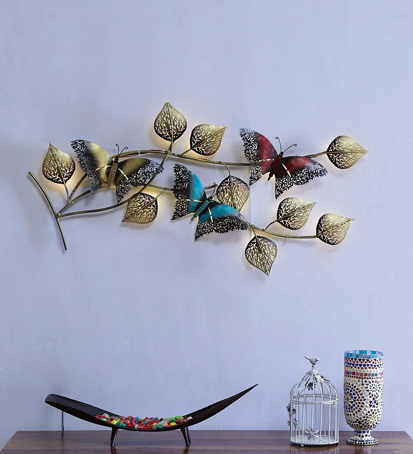 Butterfly Design with Wall Mounted & Hanging Modern Art Leaf Wall Hanging
